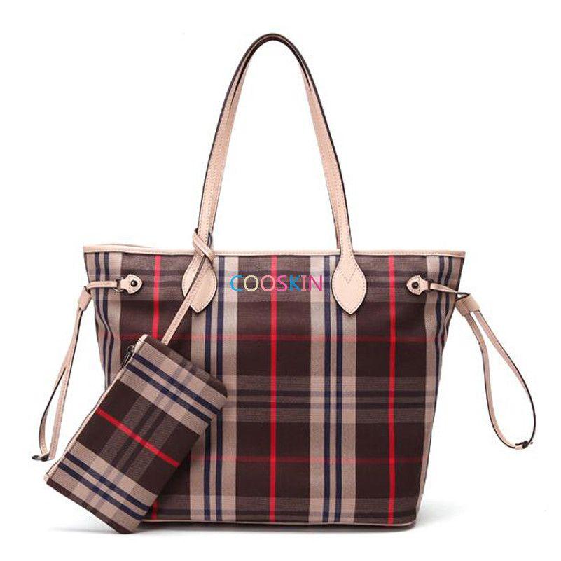 Fashion Women's handbag shopping bag Damier canvas simple Korean lattice Neverfull bags with zipper wallet free shipping