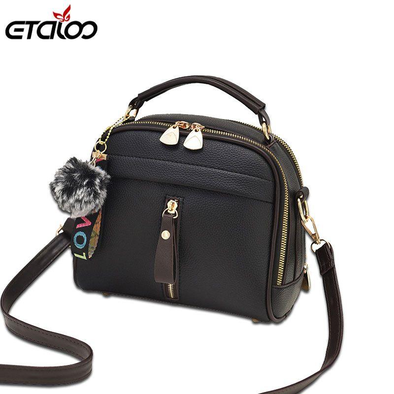 Fashion Women Handbag PU Leather Women Messenger Bags With Ball Toy Female Shoulder Bags Ladies Party Handbags 2019