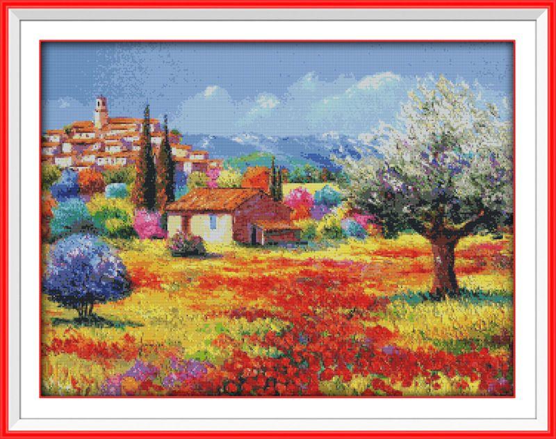 Coloré rural scénique Gogh imprimé toile DMC compté chinois point de croix Kits imprimé point de croix ensemble broderie couture