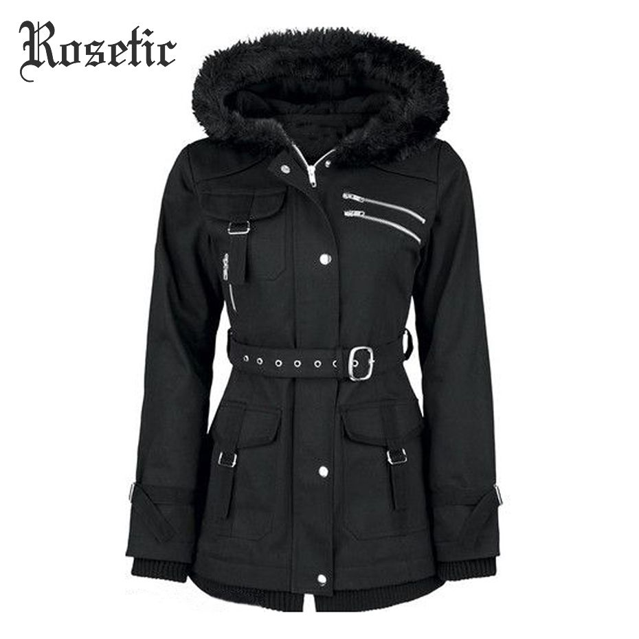 Rosetic Gothic Coat Women Black Winter Hooded Zipper Belt Mountaineering Velvet Overcoat Casual Fashion Goth Female Coat Winter