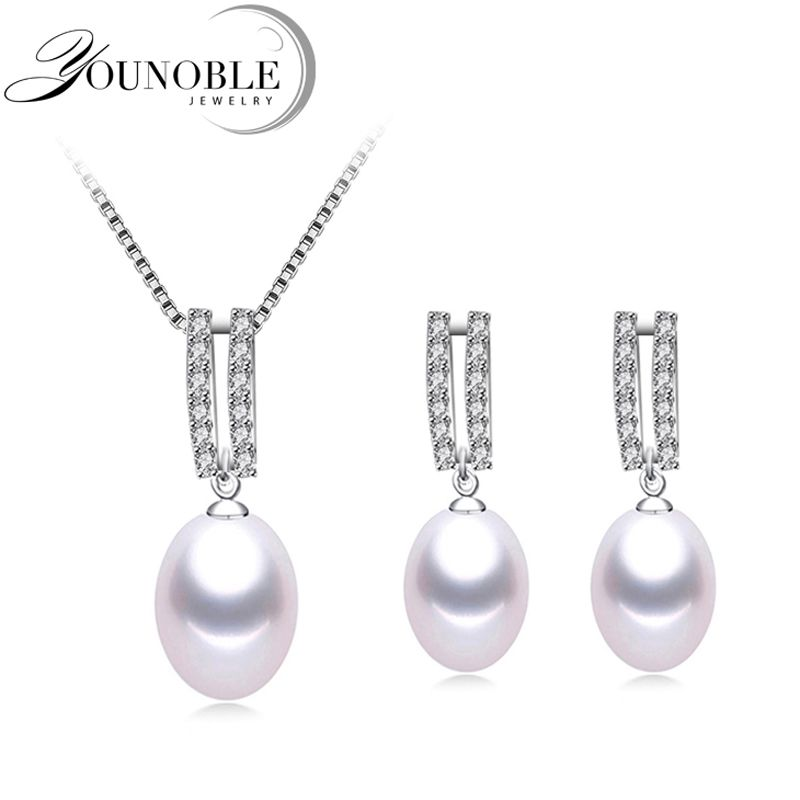 Pearl Jewelry Set Natural Freshwater Pearl Necklace Drop Earrings 925 Sterling Silver Jewelry For Women Wedding Gift in Box
