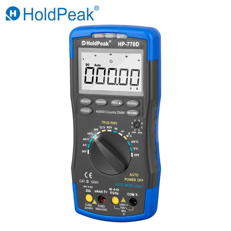 2018 HoldPeak HP-770D True RMS Digital Multimeter Auto Range Multimetro 40000 Counts Measure Ohm Volt Amp Esr Capacitor Tester