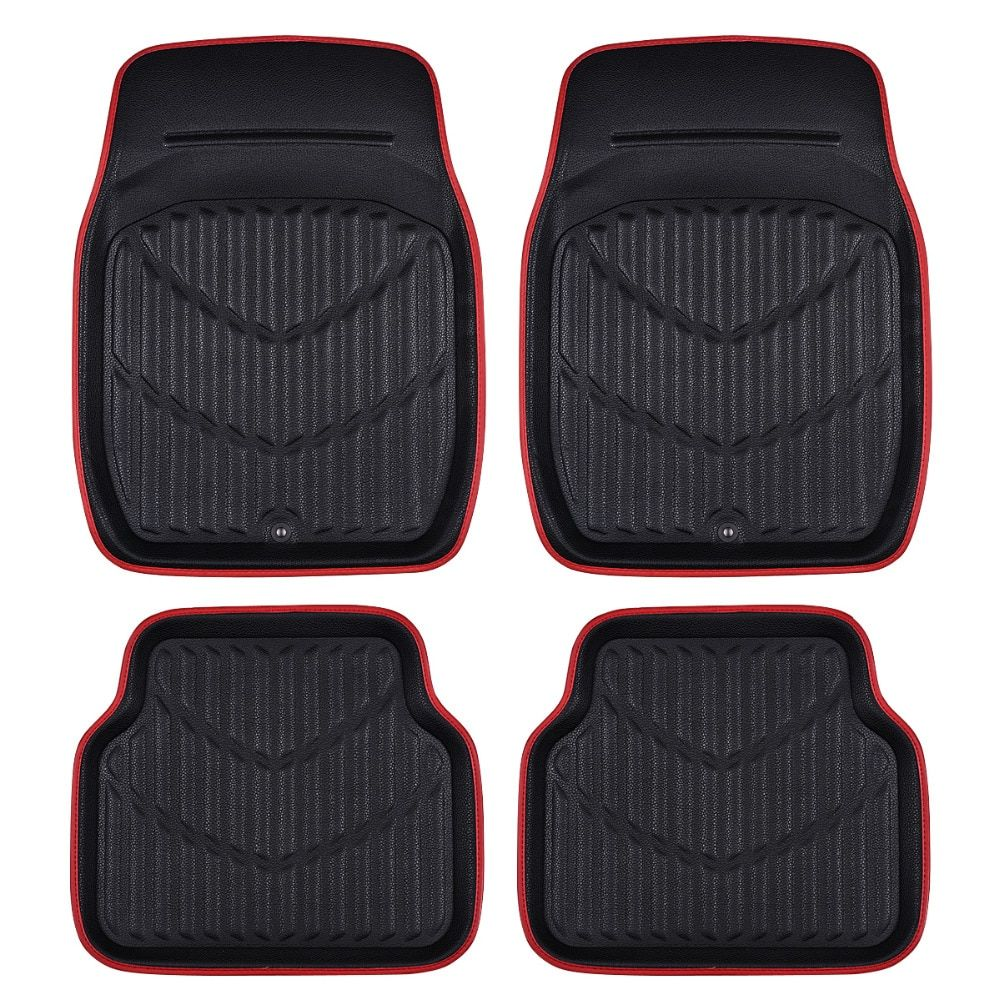 Car-pass Universal Car Floor Mats For Auto Anti-Slip Mat Red Black Car Floor Mats Car Styling Interior Auto Floor Mats