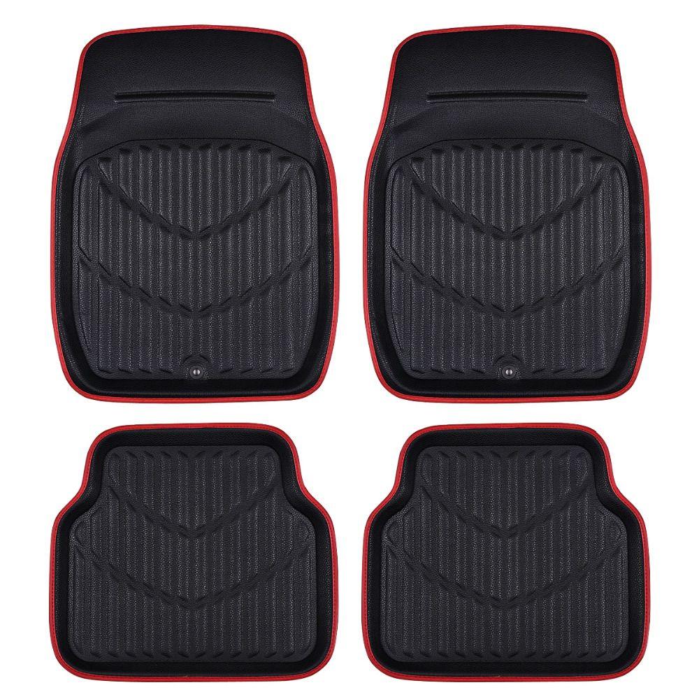 Car-pass Universal Car Floor Mats For Auto Anti-Slip Mat Red Black Car Floor Mats Car Styling Interior Auto Floor Mats