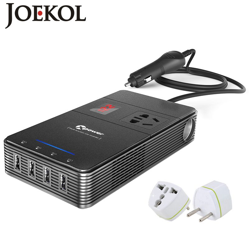Multi-function 250W Power Inverter DC 12V To AC 230V Car Converter With 4-Port USB Charging Ports Auto Power Inverter Adapter