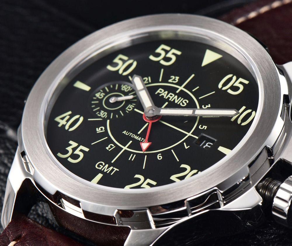 Casual Mechanische Uhr Parnis 44mm Neueste Tourbillon GMT Automatische Uhr Wasserdicht Mechanische Armbanduhr Montre Homme