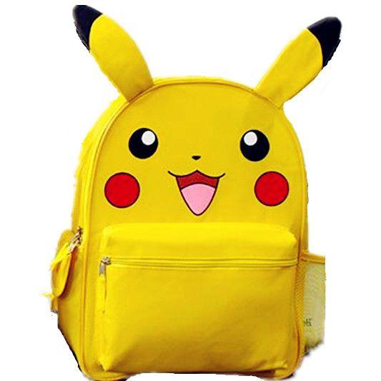 Monstre jaune Pikachu petit grand sac à dos d'école sac à dos avec oreille pour enfants Mochila cadeau de noël