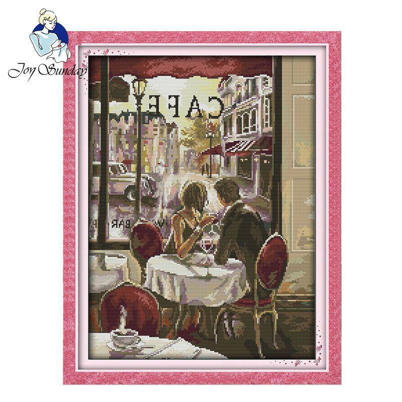 JOIE DIMANCHE, Couture, BRICOLAGE DMC point de Croix, ensembles Pour Broderie kit Café couple décoration Croix Compté sitching