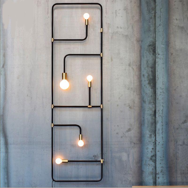 Nordique loft industriel simple style noir tuyau de fer mur lampe pour bar salle à manger décoratif Applique Murale lamparas de pared