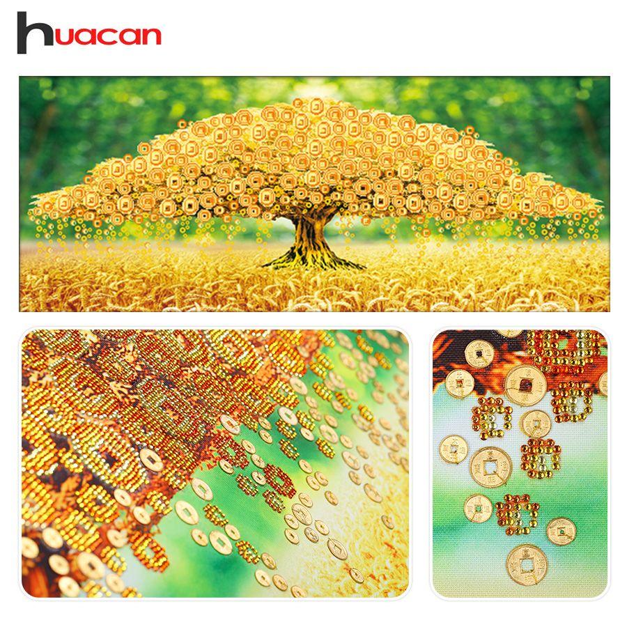 Huacan, forme spéciale, broderie de diamant, arbre, chine, 5D, peinture de diamant, point de croix, vache à lait, 3D, mosaïque de diamant, décor
