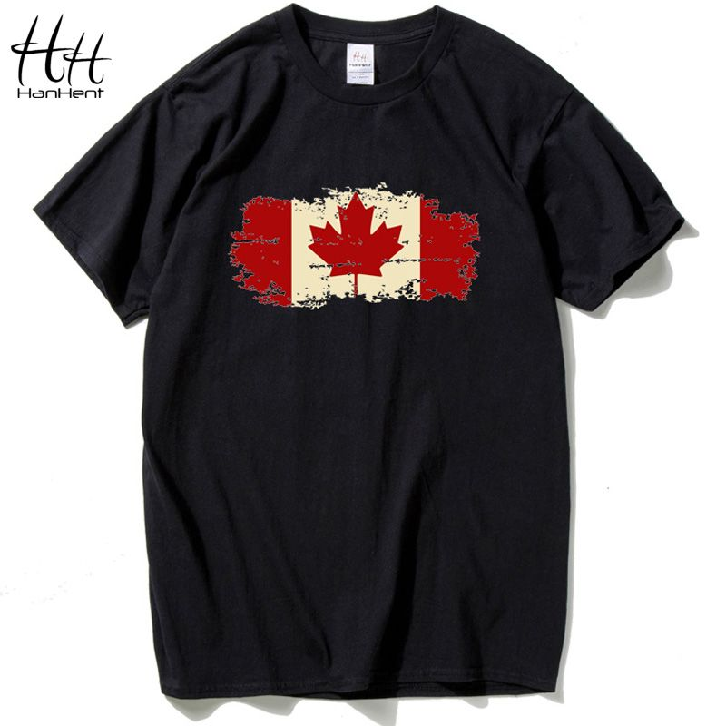 HanHent Canada Flag 2018 Fashion Tee shirt Cotton Short Sleeve Tshirt Canadian Maple Leaf O-Neck Summer Streetwear Logo T-shirts