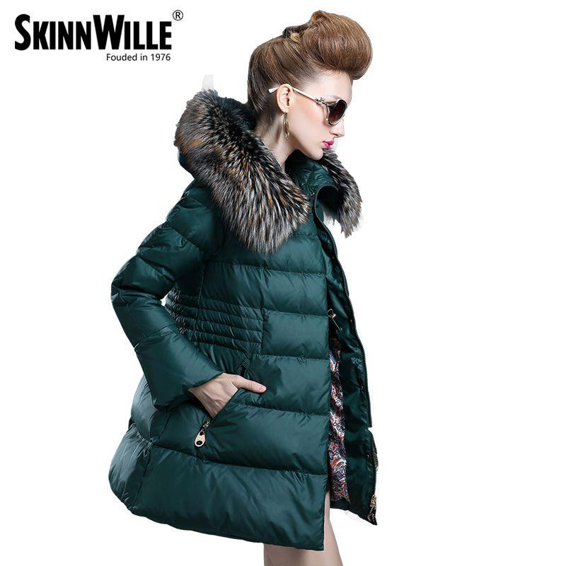 Fashion 2017 medium-long down coat female thickening fur collar loose outerwear