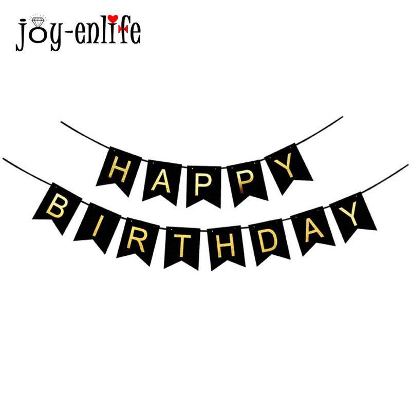 JOY-ENLIFE Glitter Joyeux Anniversaire Bunting Bannière Or Lettres Heureux D'anniversaire Guirlandes Chaîne Bébé De Douche Décor de Fête D'anniversaire