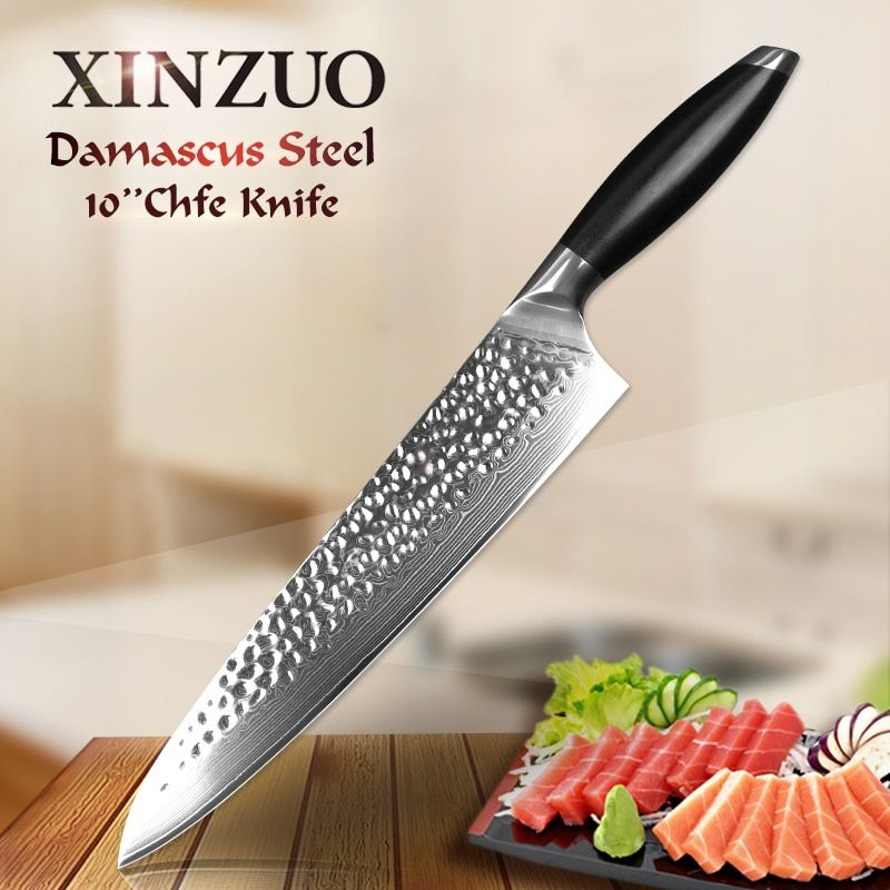 XINZUO 10 inch Pro Chef Knife Japanese 10Cr15CoMoV Core Kitchen Knives Damascus Steel 60 HRC Sashimi Cleaver Knife G10 Handle