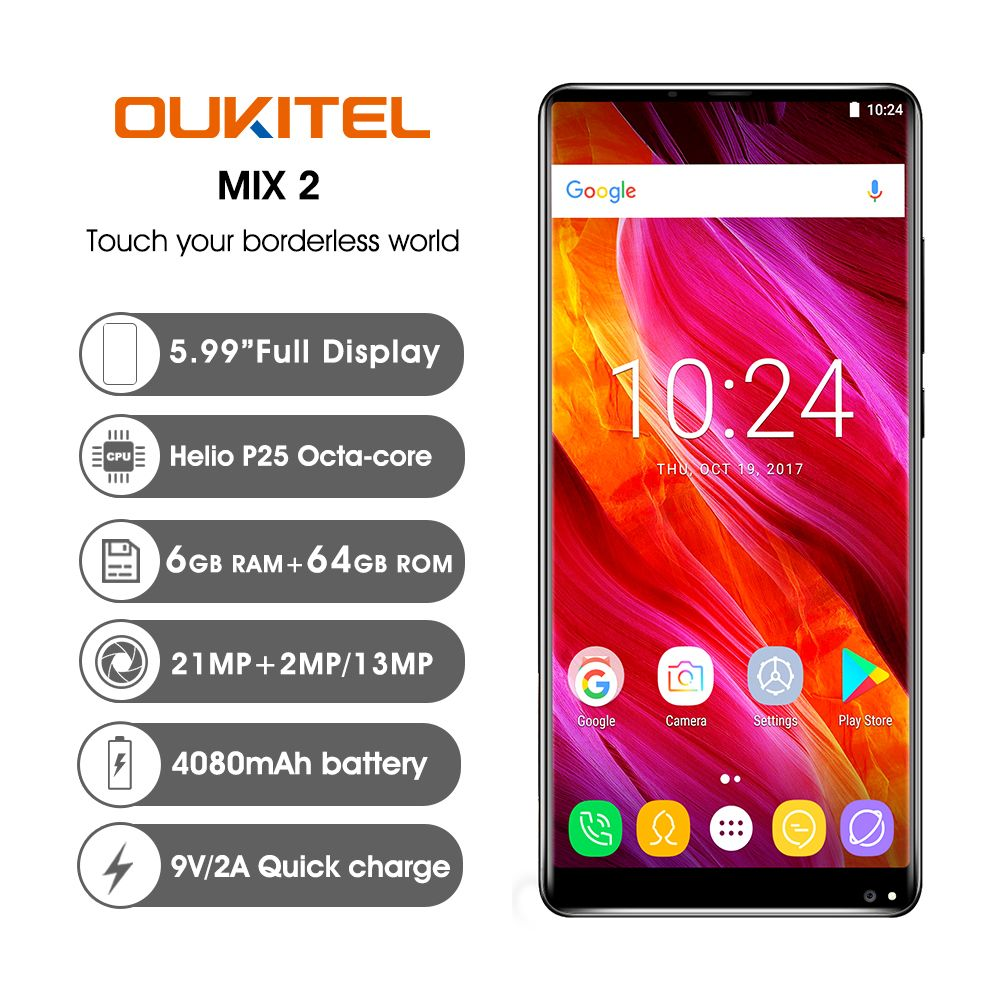 Oukitel MIX 2 4G SmartPhone Android 7.0Helio P25 Octa Core 6G 64G 5.99