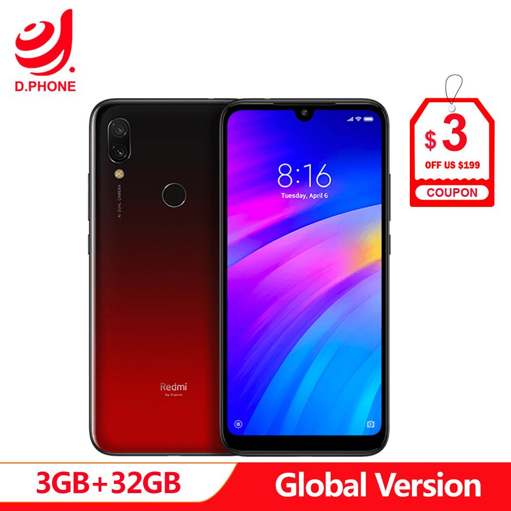 Original Global Version Xiaomi Redmi 7 3GB RAM 32GB ROM Snapdragon 632 Octa Core 12MP 6.26