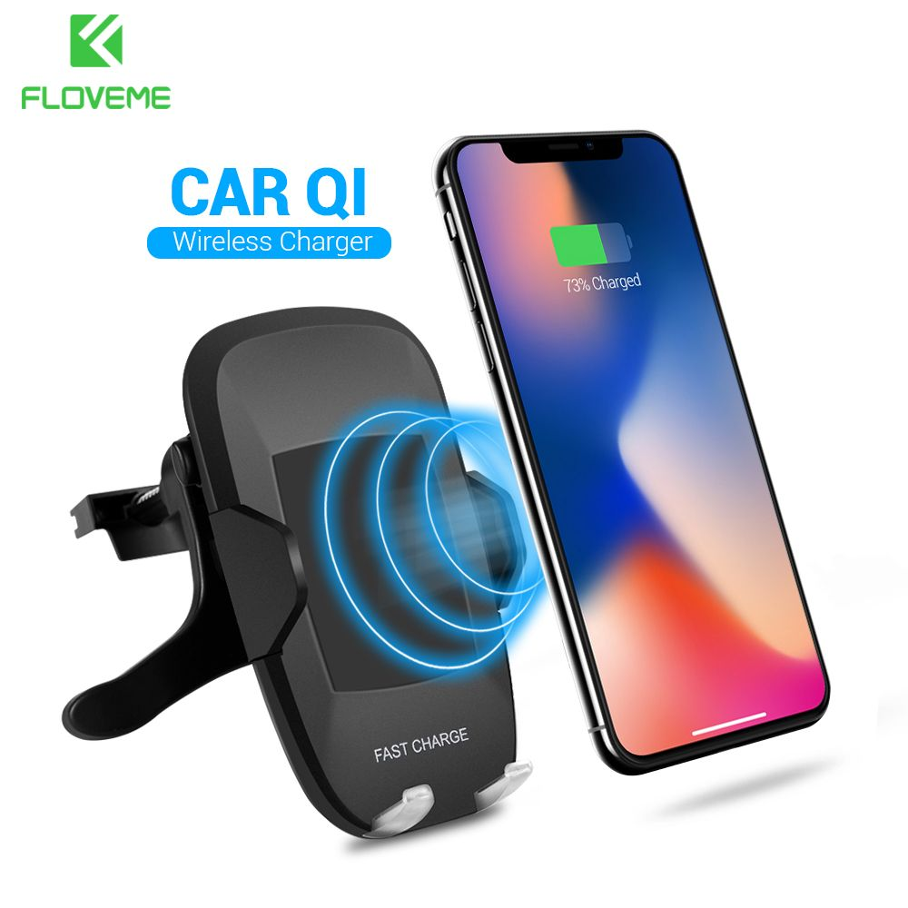 FLOVEME 5V/2A Qi Wireless Car Charger , 360 Degree Rotation Car Holder for Samsung Galaxy S8 S7 Edge NOTE 8 for iPhone X 8 Plus