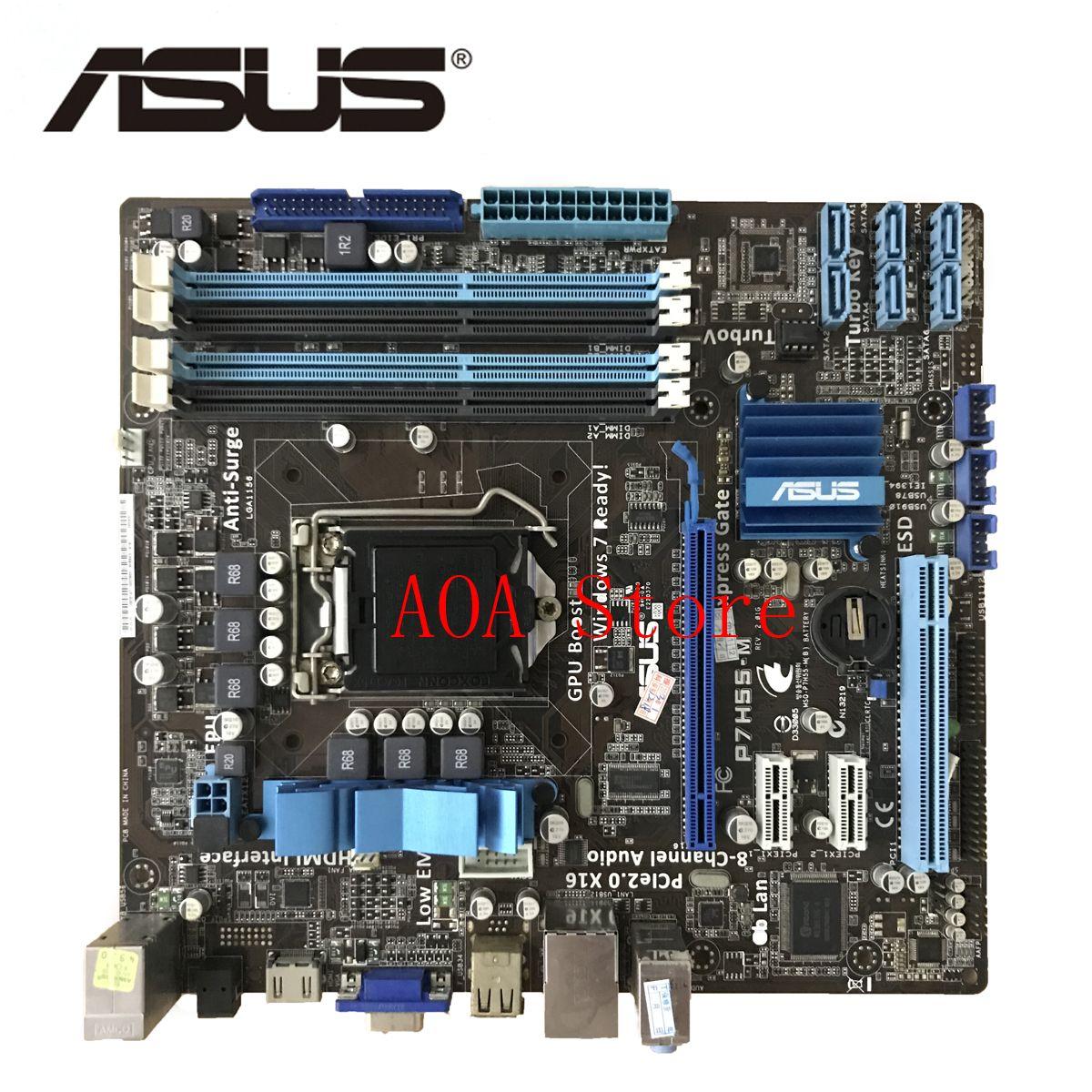 Socket LGA 1156 For Intel H55 ASUS P7H55-M Original motherboard Socket uATX HDMI VGA 4 DDR3 16GB Desktop Mainboard P7H55M