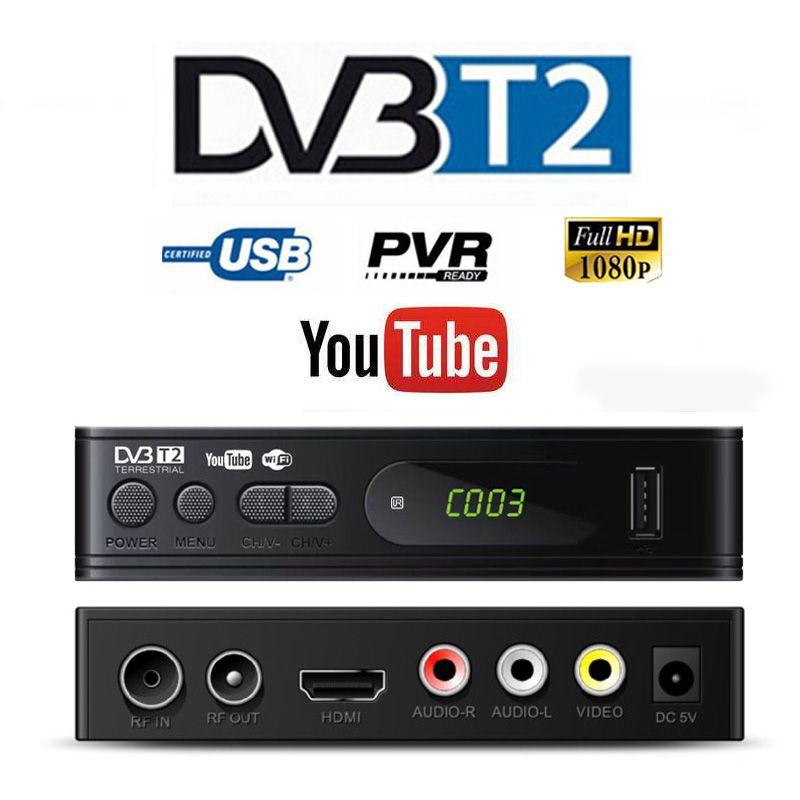 HD 1080p Tv Tuner Dvb T2 Vga TV Dvb-t2 pour moniteur adaptateur USB2.0 Tuner récepteur Satellite décodeur Dvbt2 russe manuel