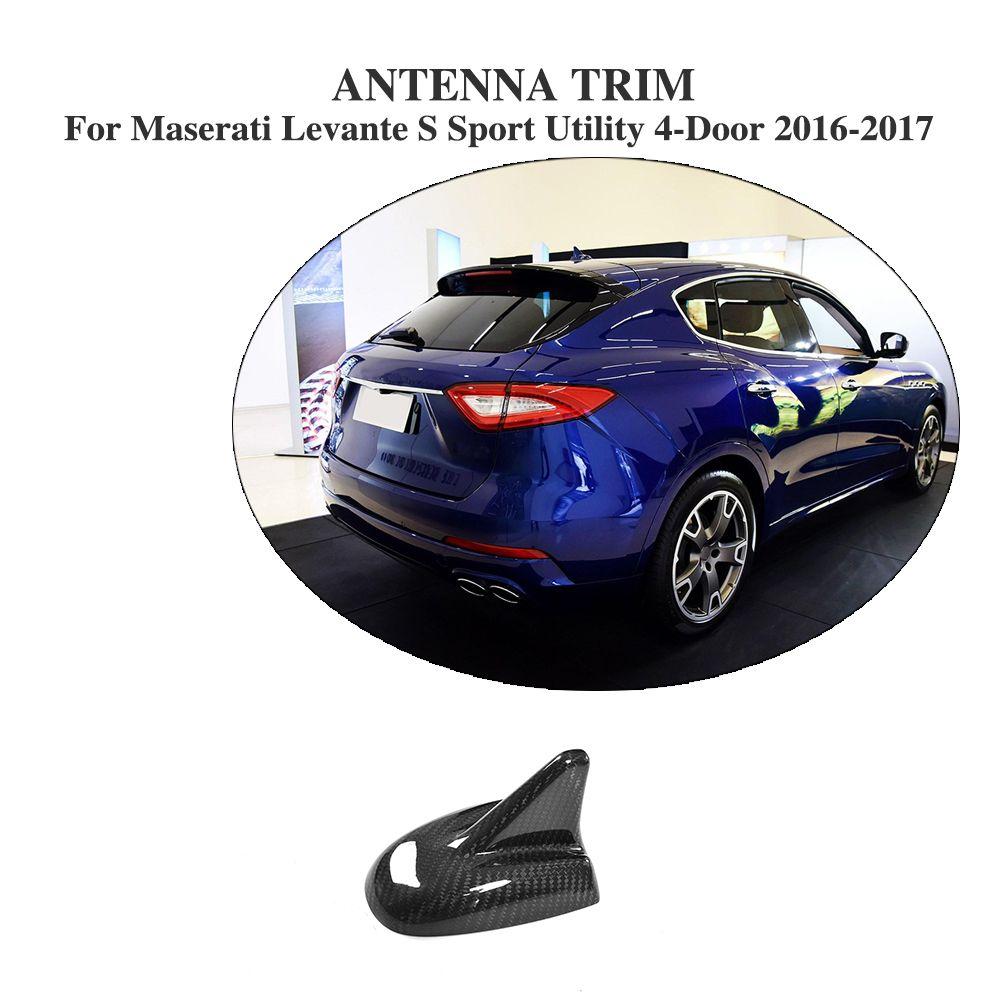 Carbon Fiber Auto Shark Fin Roof Antenna Trim for Maserati Levante S Sport Utility 4-Door 2016-2017