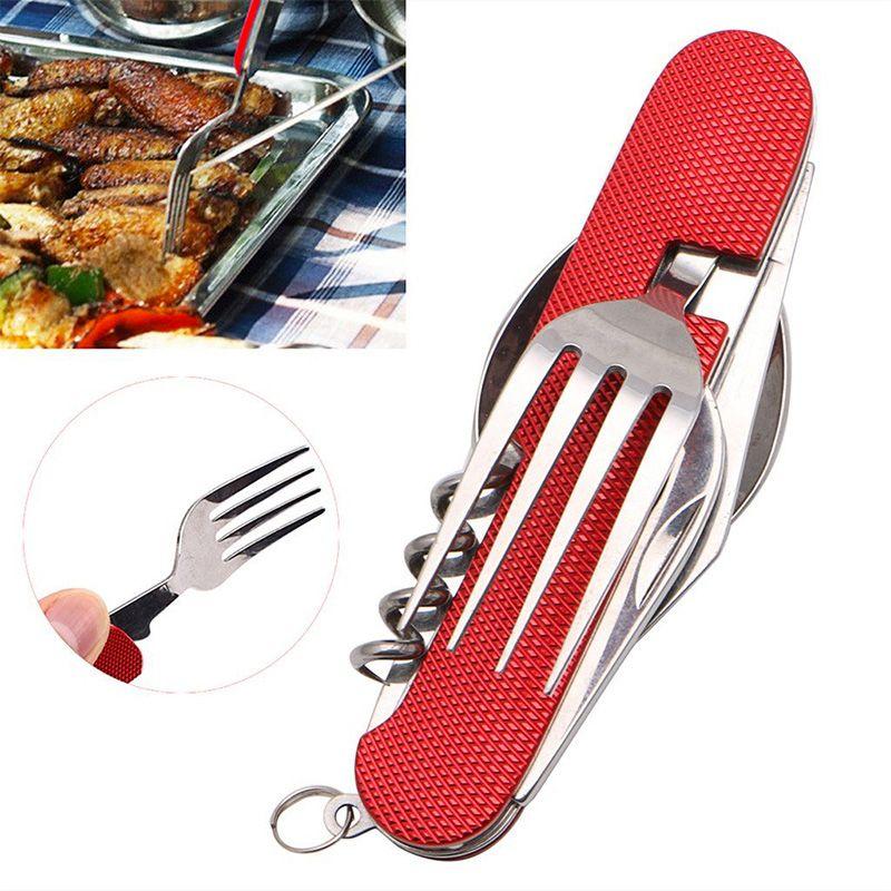 Vaisselle d'extérieur cuillère pliante fourchette couteau Set Portable voyage randonnée en acier inoxydable poche couteau pliant matériel de Camping