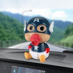 Car Ornament ABS Baby Nipple Doll For Captain America Cute Decoration Automobile Interior Shaking Head Action Figure Model Gifts
