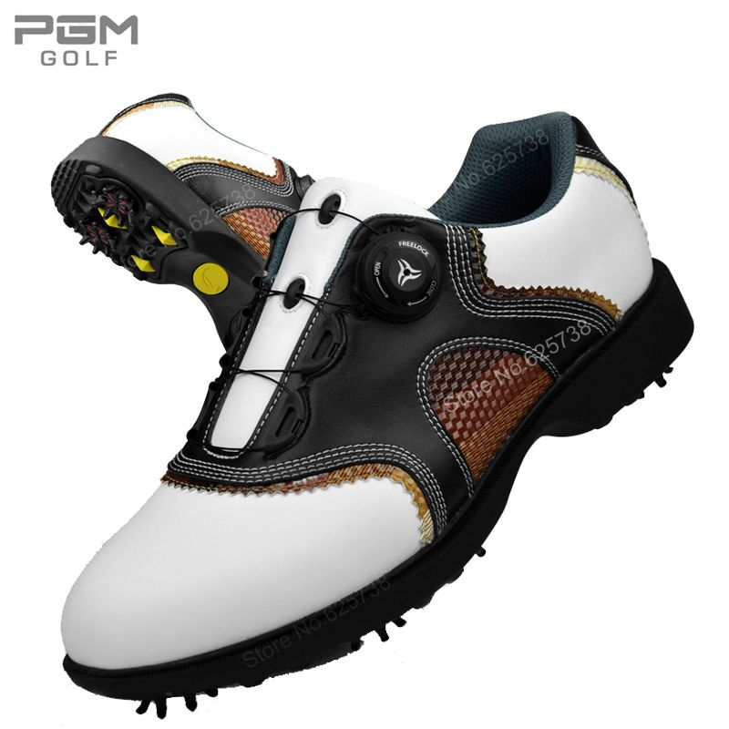 2017 New arrival golf ball shoes Men shoes waterproof first layer of cowhide rotary shoelace men's golf sneakers