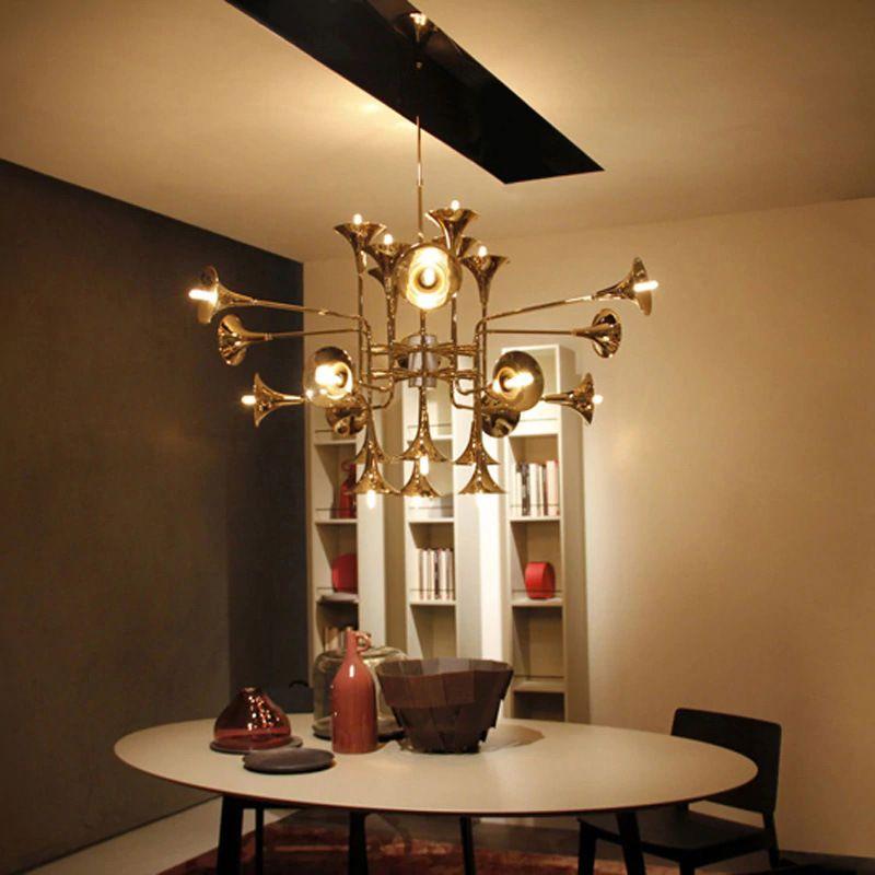 Moderne delightfull botti Gold Trompete Anhänger Lampen Vintage Retro Lange rohr Horn Anhänger Licht Für Wohnzimmer