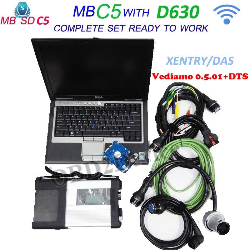 New MB Star C5 for star Diagnosis Tool with 12/2018 software vediamo 05.01+DTS with for Dell D630 Laptop MB star sd connect C5