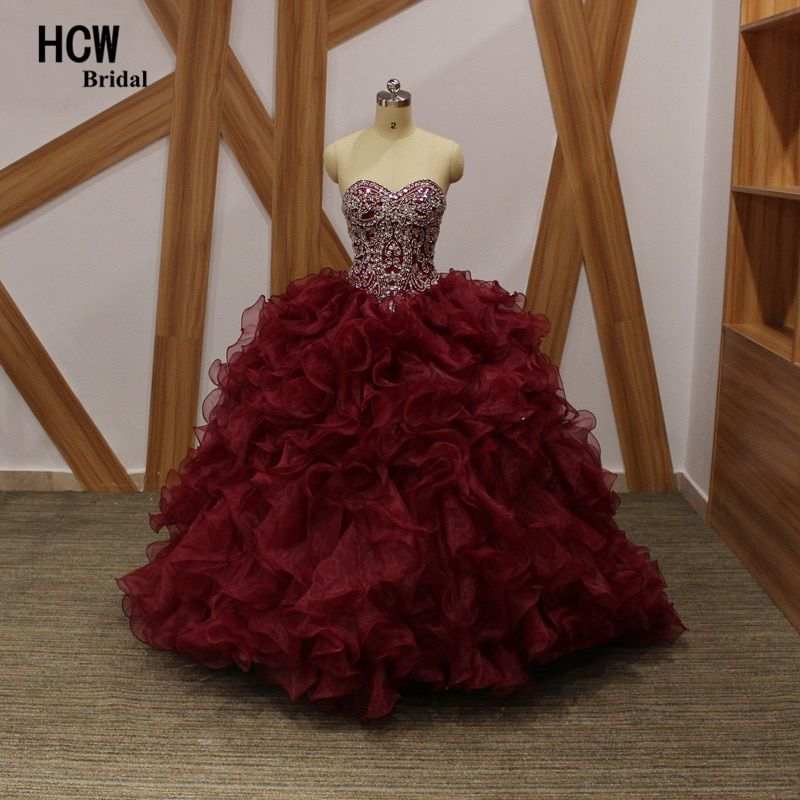 Burgundy Ball Gown Quinceanera Dress 2018 Luxury Ruffles Tiered Corset Lace Up Sweet 16 Party Dresses Long Quinceanera Gowns