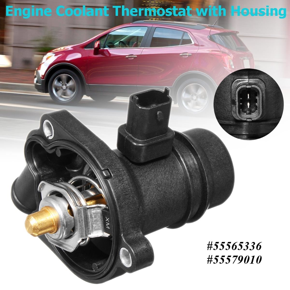 Engine Coolant Thermostat With Housing Replacement For Chevrolet/Buick/Cruze/Sonic/Encore 2011 2012 2013 2014 2015 2016