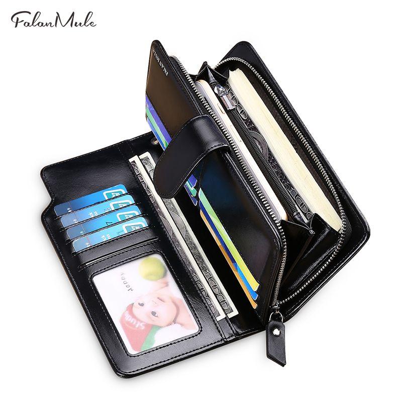 Горячие Продажа кошелек из натуральной кожи бумажник мужчины новый мужской бумажник длинный кожаный бумажник бренд кошелек портмоне мужчи...