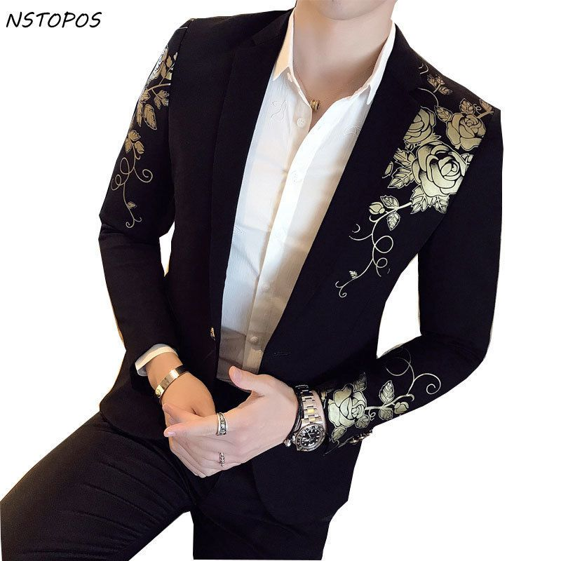 Gold Black Blazer Flower Gold Print Party Wedding <font><b>Festival</b></font> Stylish Blazers For Men Stage Costumes For Singers Slim Fit Blazer