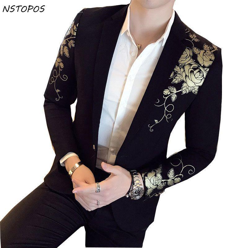 Gold Black Blazer Flower Gold Print Party Wedding Festival Stylish Blazers For Men Stage Costumes For Singers Slim Fit Blazer