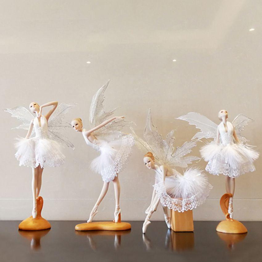 Beautiful Girl Creative Gifts Resin Angel Ornaments <font><b>Artificial</b></font> Home Decor Miniature Flower Fairy Figurines Wedding decoration
