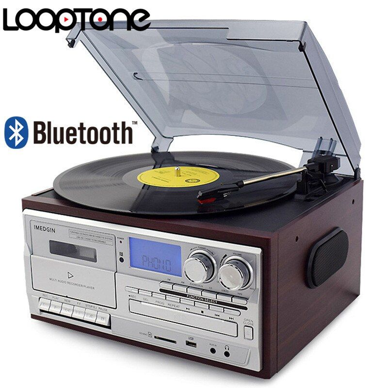 LoopTone 3 Speed Bluetooth Vinyl Record Player Vintage Turntable CD&Cassette Player AM/FM Radio USB Recorder Aux-in RCA Line-out