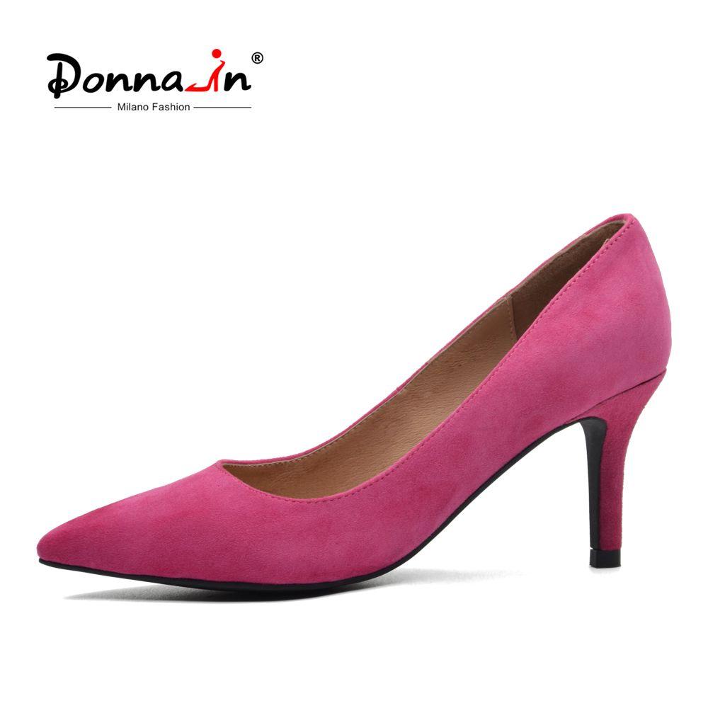 Donna-Aus Echtem Leder Frauen Schuhe 2018 Frühling Spitz Pumpen Dünne High Heel Pumps Kid Suede 7,5 cm Ferse Partei Damen Schuhe