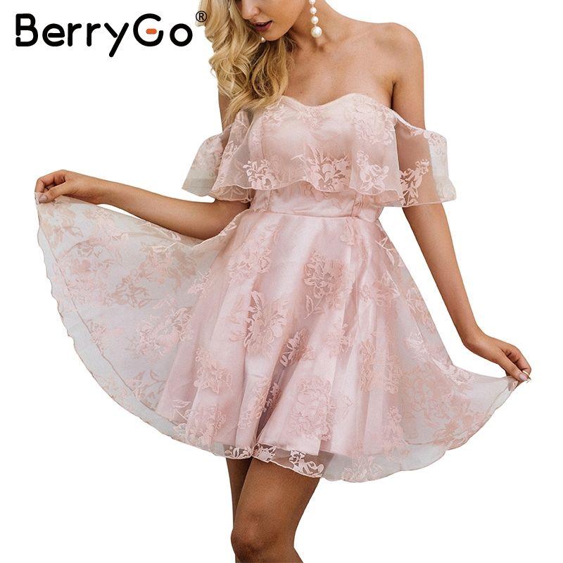 BerryGo bordado de La Flor del hombro de malla vestido de las mujeres backless Atractivo de la alta cintura del vestido del verano 2017 vestidos de fiesta vestidos