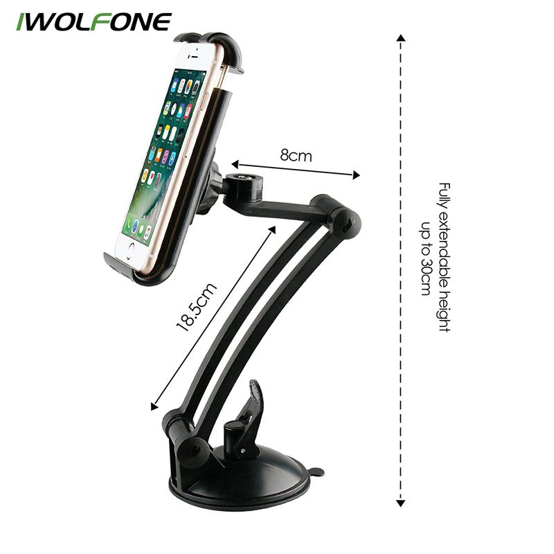 IWOLFONE Telescopic Car Phone Holder Sucker Car Windshield Mount Mobile Phone Holder Stand Support Cellular Phone and for iPad