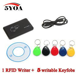 RFID Copier 125KHz EM4100 Cloner Writer Duplicator Programmer Reader + 5 Pcs EM4305 T5577 Rewritable ID Keyfobs Tags Card