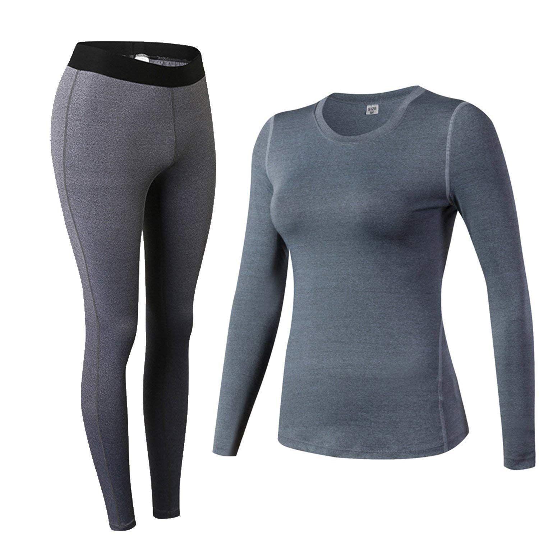 Minghe Frauen Compression Lange Unterhosen Feuchtigkeit Wicking Tops Shirt Bottom Strumpfhosen 6 stücke