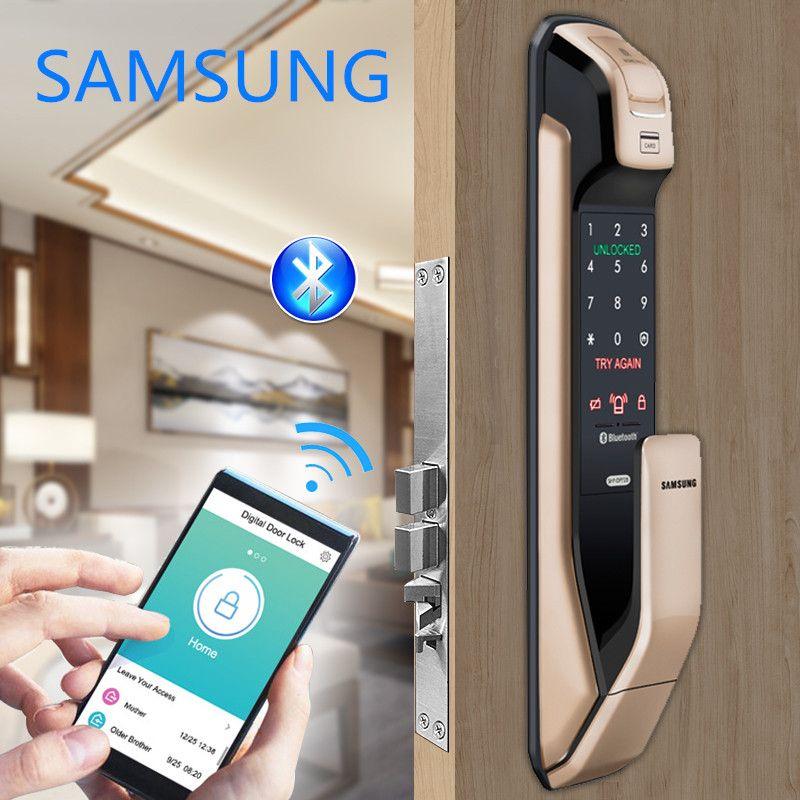 SAMSUNG Fingerprint PUSH PULL Digitale Türschloss Mit WIFI Bluetooth App SHS-DP728 Englisch Version Große Einsteckschloss AML320