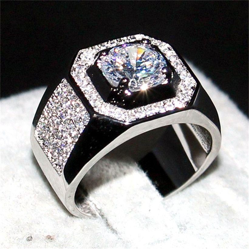 Choucong bijoux hommes 925 en argent Sterling et or rose 1.5ct Diamant paev cz bague de fiançailles de mariage bandes garçons Sz 7-13 cadeau