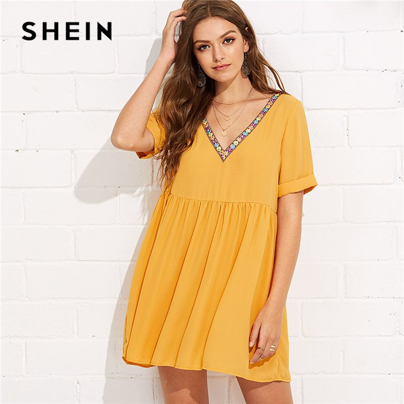 SHEIN Ginger Elegant Embroidery Tape Neck Cuffed Smock Roll Up Short Sleeve V Neck Dress Summer Women Weekend Casual Dresses