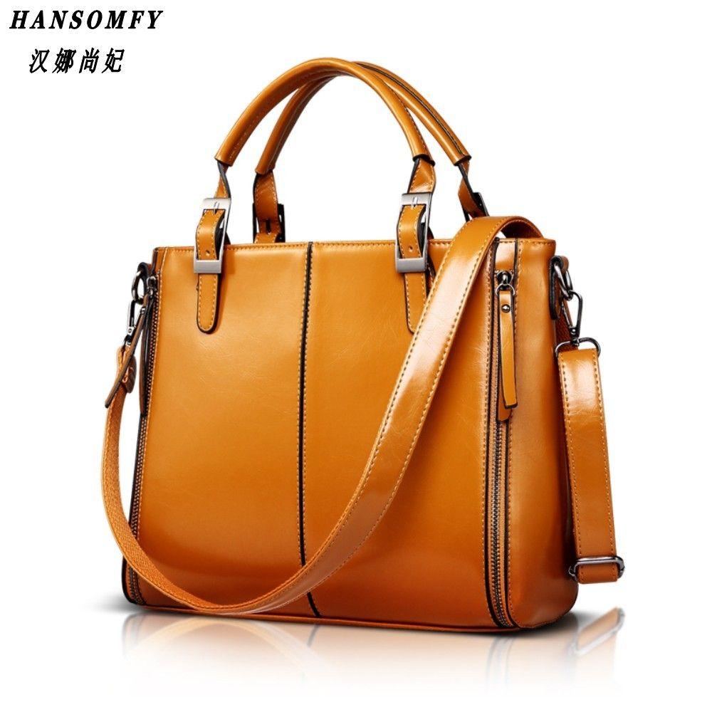 100% Genuine leather Women handbags 2018 New Fashion Handbag Brown Women Bag Vintage Messenger Bag Office Ladie Briefcase