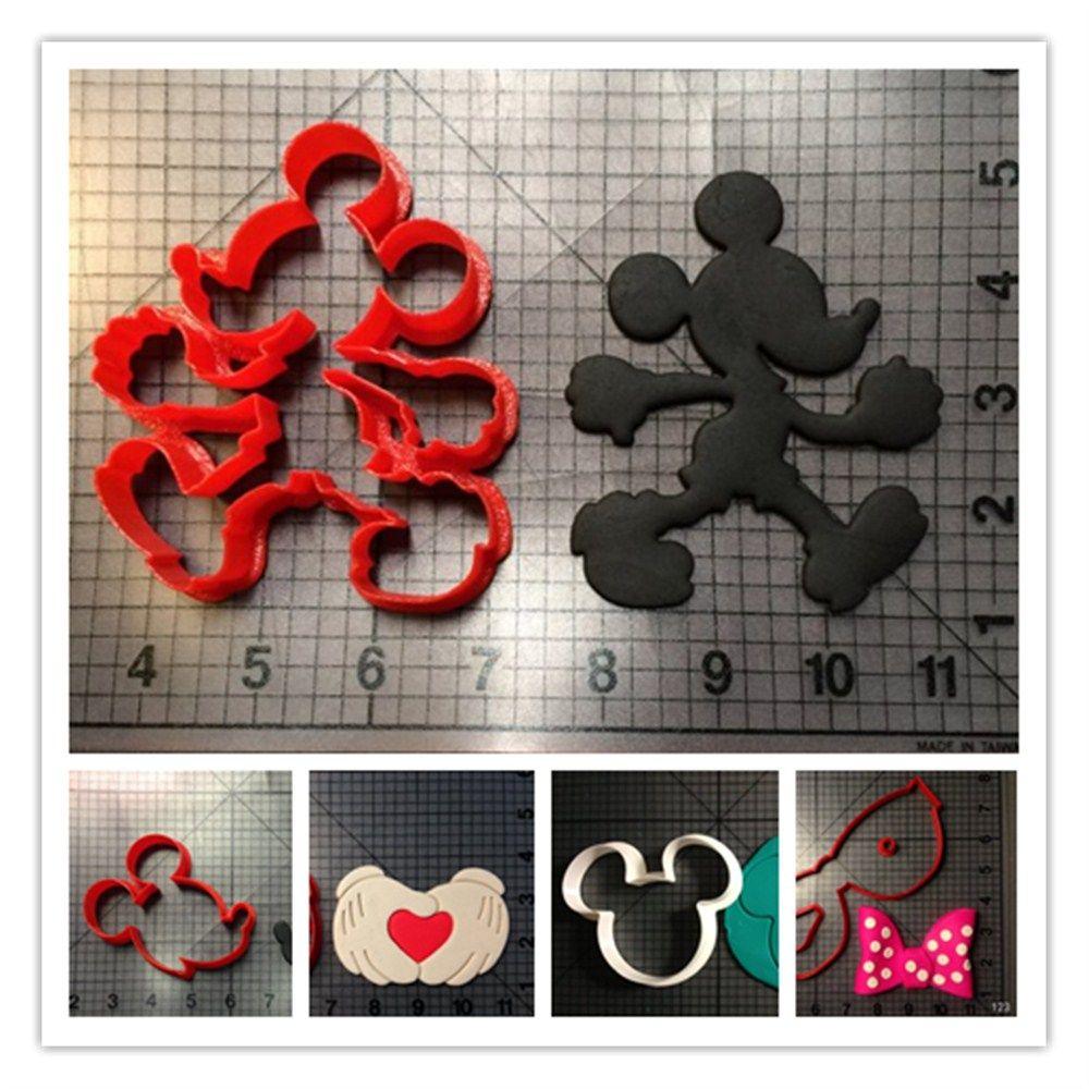Dessin animé Micky souris tête main arc série Fondant Cutter sur mesure 3D imprimé Fondant gâteau outils emporte-pièce ensemble Confeitaria
