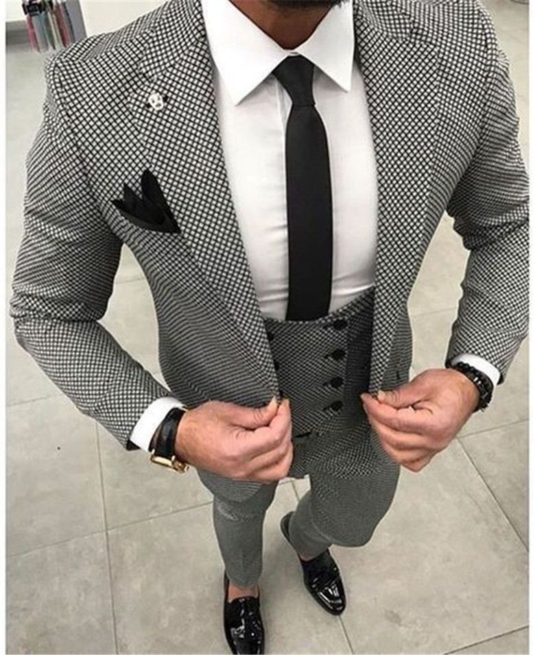 Houndstooth Custom Made Mens Checkered Suit Dresses Tailored black Weave Hounds Tooth Check wedding men suits jacket+pants+vest