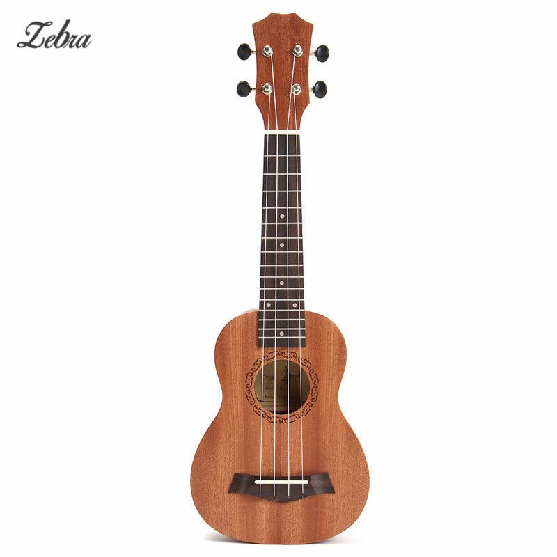 Zebra 21'' 4 Strings Rosewood Soprano Ukulele Guitar Brown Sapele Rosewood 15 Frets Guitar For Musical Instrument Lover Beginner