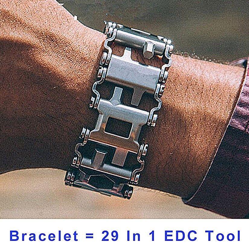 29 In 1 Multi-Function Hiking Camping Survival Outdoor EDC Tools Men & Women Bracelets Stainless Steel Bracelet Link Design