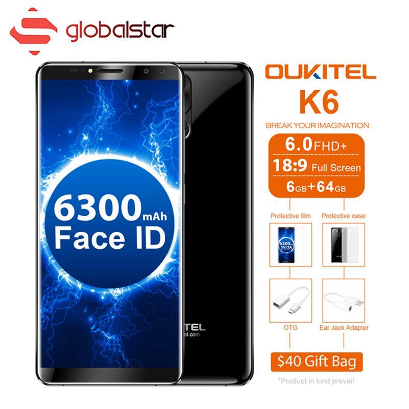 OUKITEL K6 6300mAh Battey Face ID 18:9 6.0